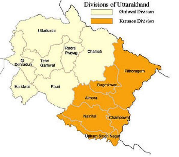 Kumaon Map | Political Map of Kumaon
