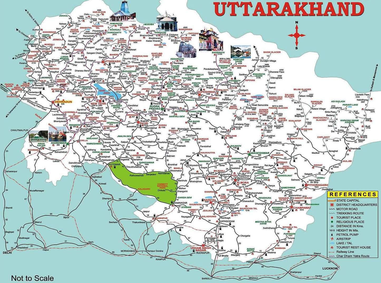 Uttarakhand Tourism Map - Uttaranchal Tourism Map Portal